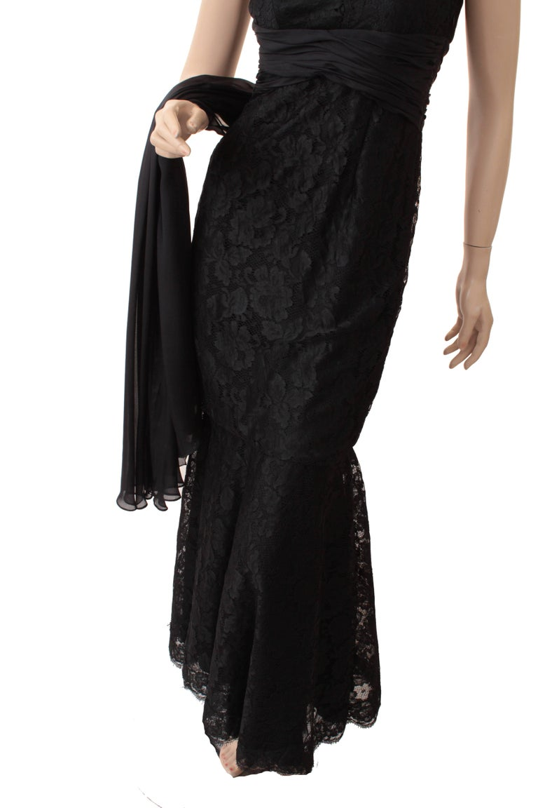 Pamella Roland Evening Gown Black Lace Silk Panels Mermaid Hem Sz 6 For Sale 4