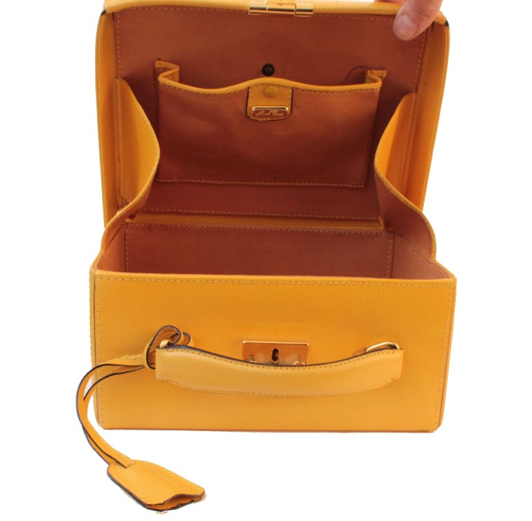 Mark Cross Grace Small Yellow Saffiano Leather Box Structured Handbag  7