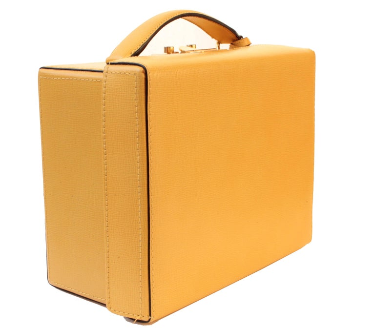 Mark Cross Grace Small Yellow Saffiano Leather Box Structured Handbag  3