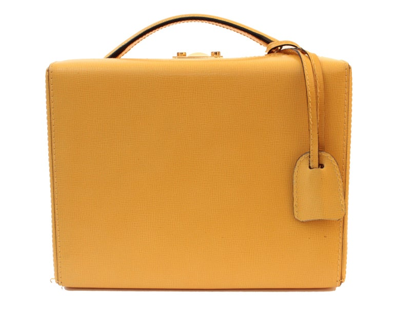 Mark Cross Grace Small Yellow Saffiano Leather Box Structured Handbag  2