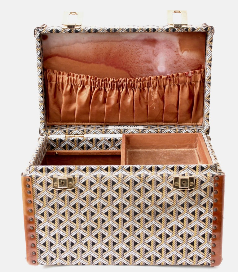 Goyard Paris Vintage Vanity Train Case Mini Trunk Beauty Bag Carry On, 1960s  For Sale 2