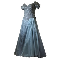 Vicky Tiel Couture Full Length Ball Gown Evening Gray Silk Tulle Bergdorfs Sz 44