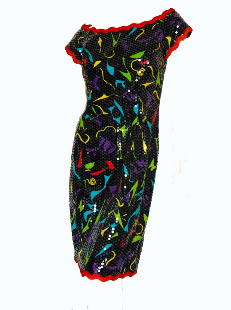 Lillie Rubin Sequins Party Dress Abstract Print Festive Holiday Sz 6  For Sale 1