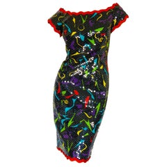 Lillie Rubin Sequins Party Dress Rare Abstract Print Festive Cocktail Sz 6