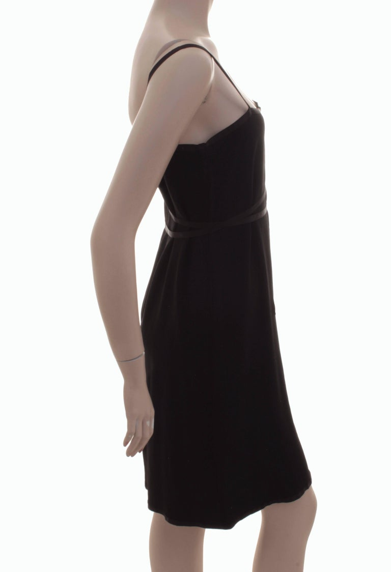 Yves Saint Laurent Cocktail Dress Black Crepe with Wrap Ties YSL Rive Gauche 40 In Excellent Condition For Sale In Port Saint Lucie, FL