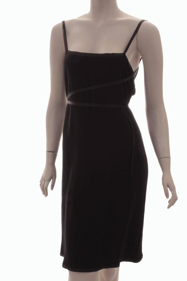 Yves Saint Laurent Cocktail Dress Black Crepe with Wrap Ties YSL Rive Gauche 40 For Sale 3