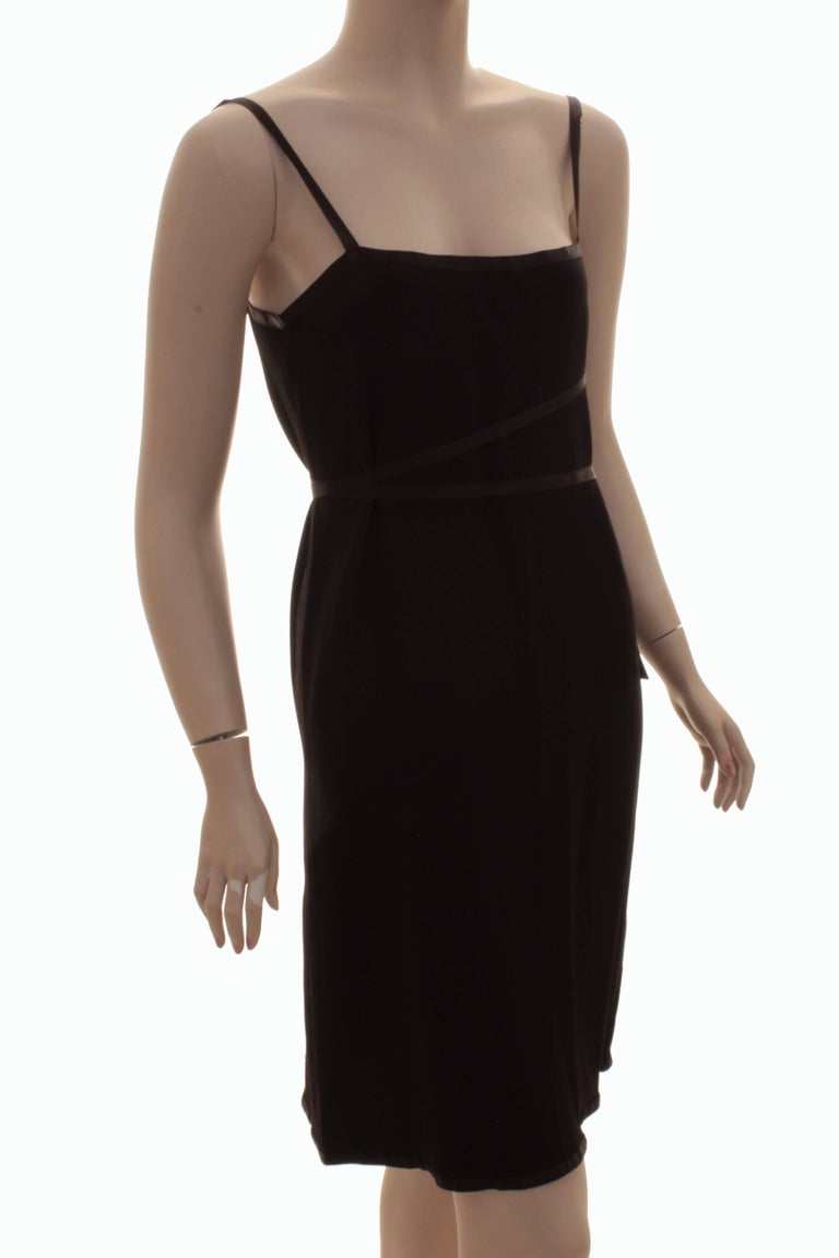 Yves Saint Laurent Cocktail Dress Black Crepe with Wrap Ties YSL Rive Gauche 40 For Sale 1