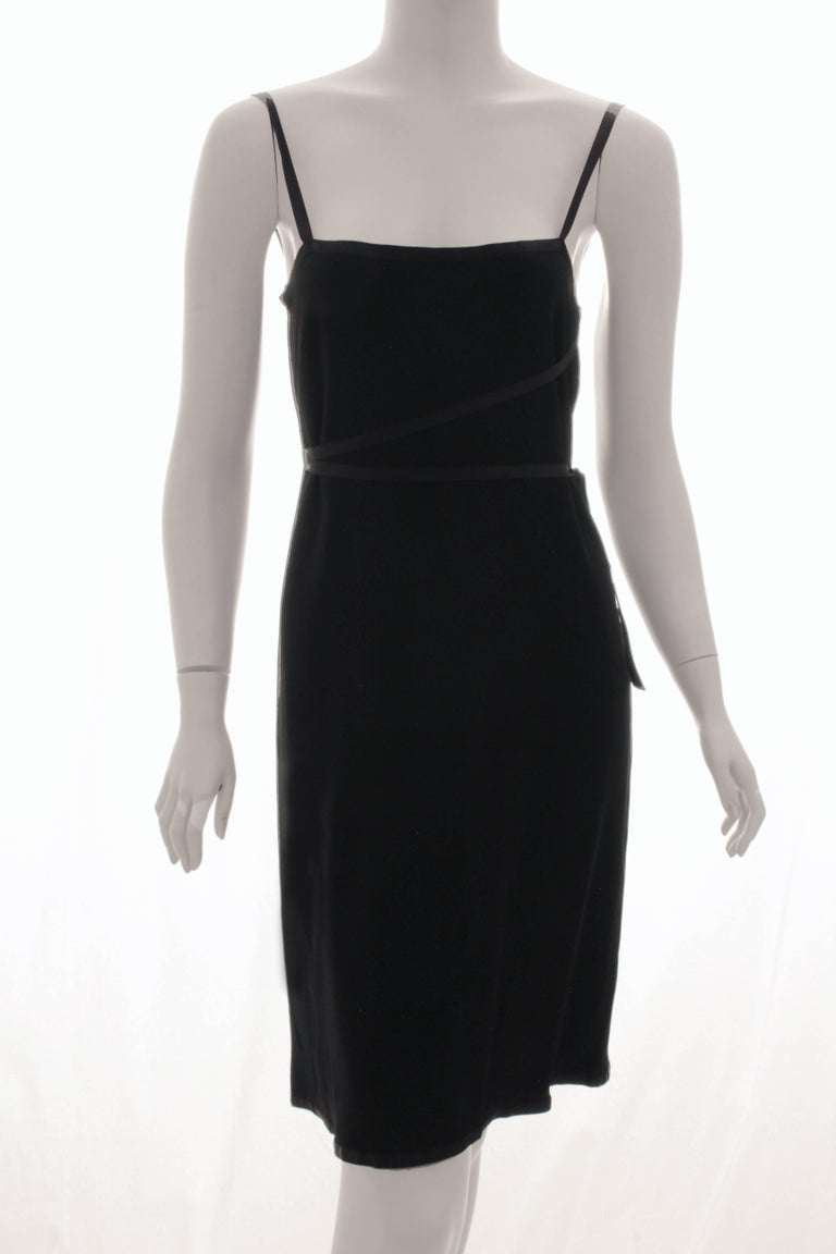 Yves Saint Laurent Cocktail Dress Black Crepe with Wrap Ties YSL Rive Gauche 40 For Sale 2