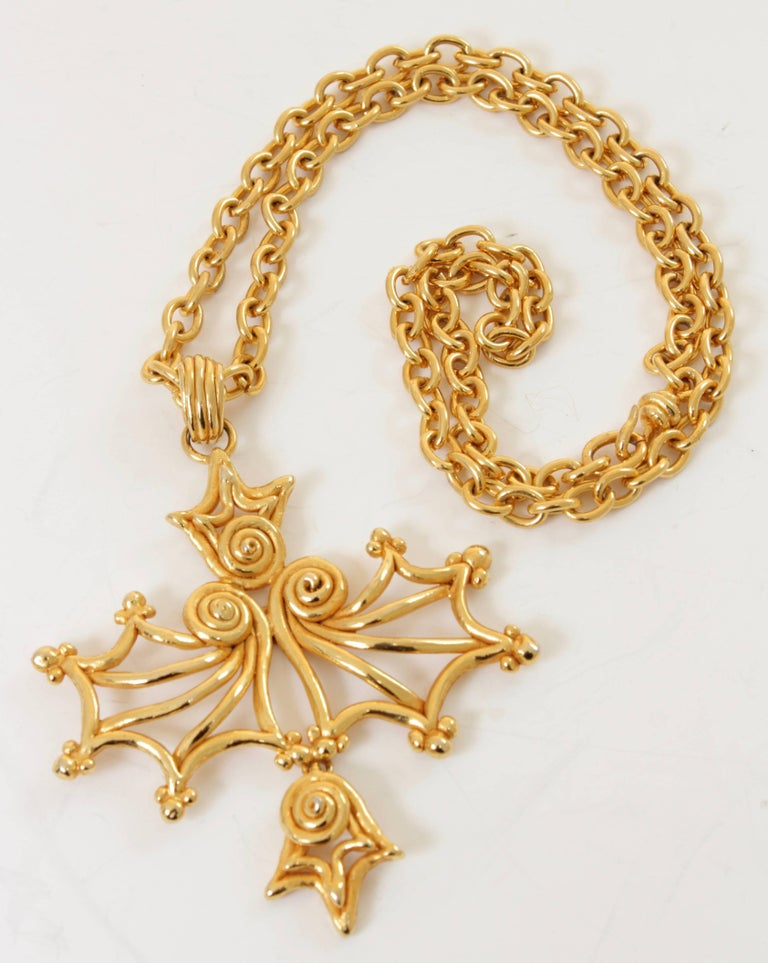 Baroque Sonia Rykiel Massive Pendant Statement Necklace Long Chunky Chain Gold Metal 80s For Sale