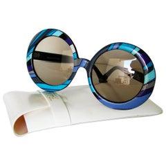 1970s Emilio Pucci Sunglasses with Case Retro Oversized Round Modern