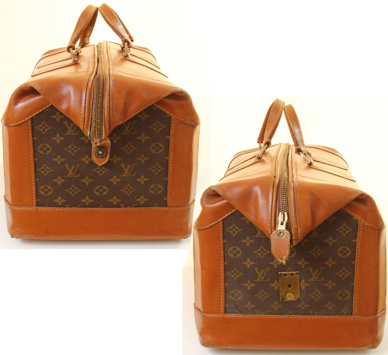 Women's or Men's Vintage Louis Vuitton Monogram Travel Bag Steamer Keepall Doctors Bag Rare 70s  For Sale
