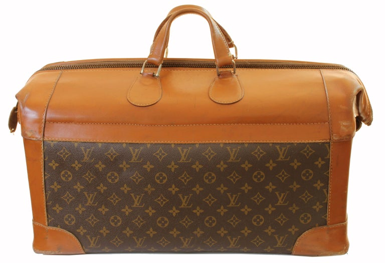 Brown Vintage Louis Vuitton Monogram Travel Bag Steamer Keepall Doctors Bag Rare 70s  For Sale