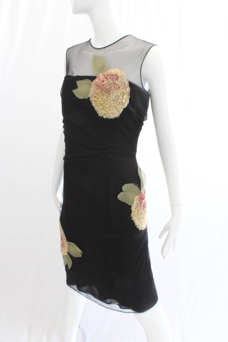 Women's or Men's Bill Blass Cocktail Cocktail Dress Dimensional Florals Sz 10 Vintage For Sale