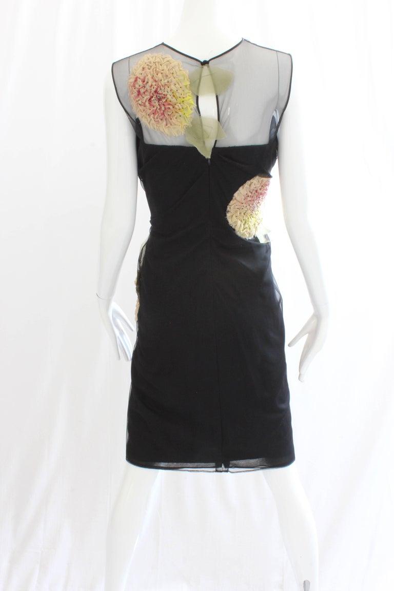 Bill Blass Cocktail Cocktail Dress Dimensional Florals Sz 10 Vintage For Sale 1