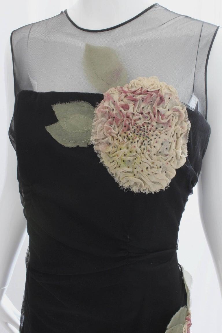 Black Bill Blass Cocktail Cocktail Dress Dimensional Florals Sz 10 Vintage For Sale