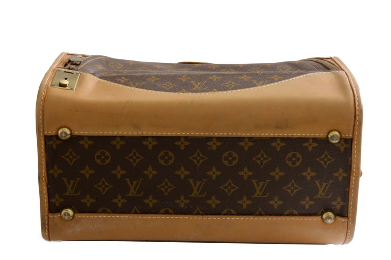 3a5f17e1529a Louis Vuitton French Company Sac Chien Monogram Dog Carrier Travel Bag 40cm  70s For Sale 3