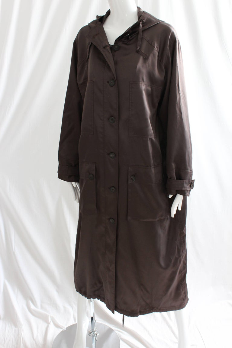 Women's Sonia Rykiel Brown Satin Trench Coat with Hood, 1990s  For Sale