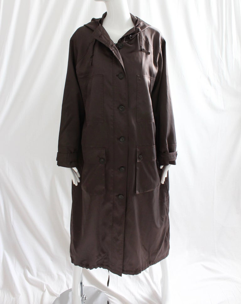 Black Sonia Rykiel Brown Satin Trench Coat with Hood, 1990s  For Sale