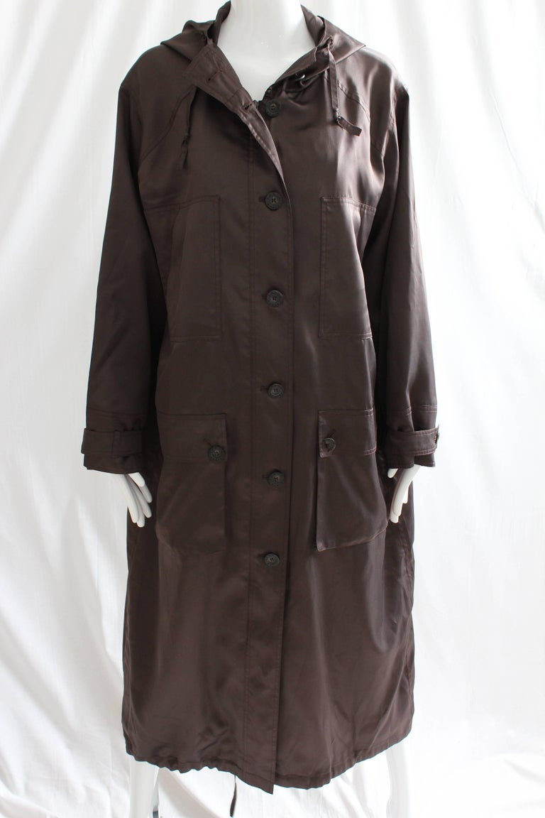 Sonia Rykiel Brown Satin Trench Coat with Hood, 1990s  In Good Condition For Sale In Port Saint Lucie, FL