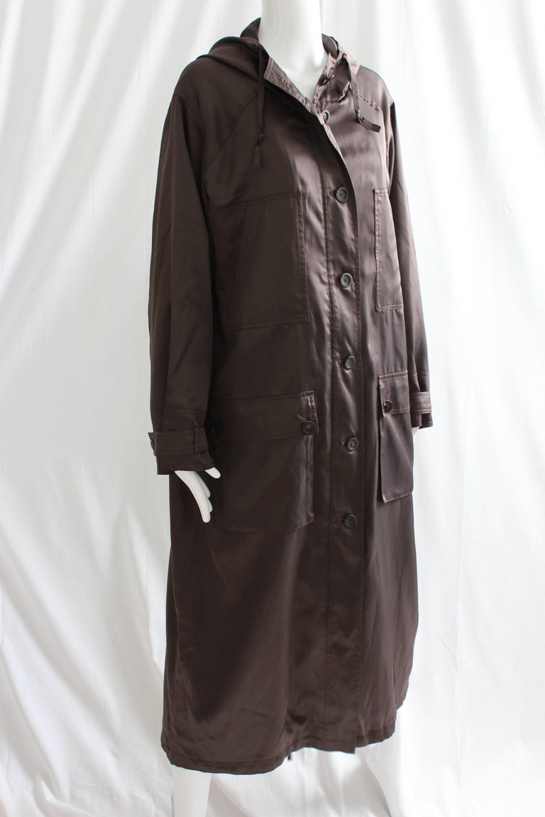 Sonia Rykiel Brown Satin Trench Coat with Hood, 1990s  For Sale 2