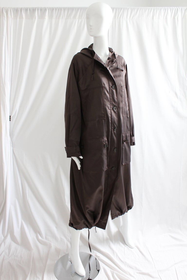 Sonia Rykiel Brown Satin Trench Coat with Hood, 1990s  For Sale 1