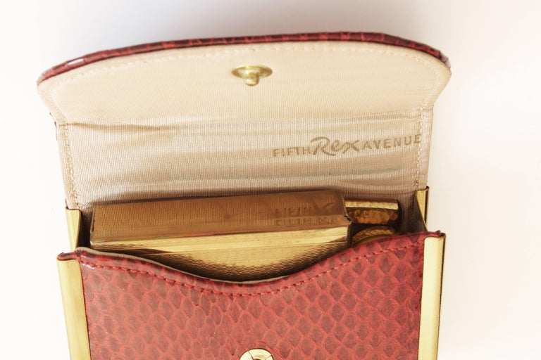 Rex Fifth Ave Snakeskin Mini Clutch + Compact Mirror Lipstick Holder Comb 1950s For Sale 5