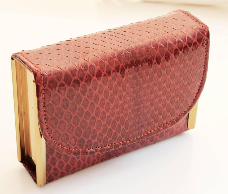 Women's or Men's Rex Fifth Ave Snakeskin Mini Clutch + Compact Mirror Lipstick Holder Comb 1950s For Sale