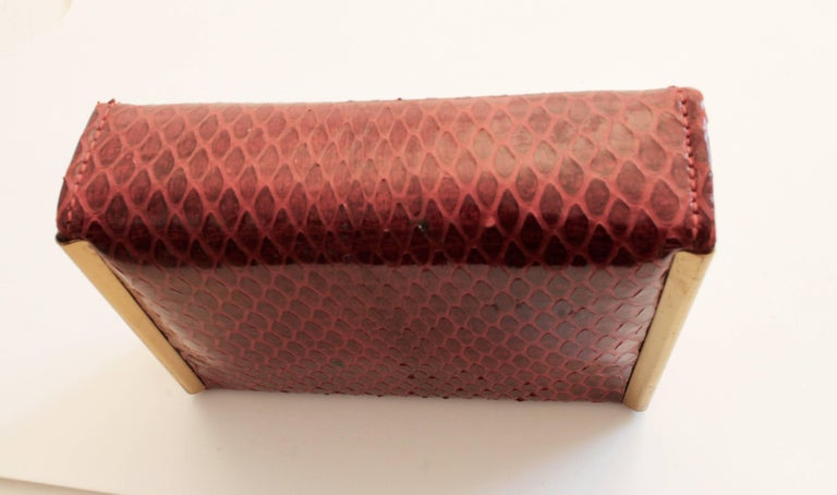 Rex Fifth Ave Snakeskin Mini Clutch + Compact Mirror Lipstick Holder Comb 1950s For Sale 1