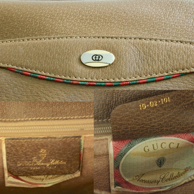 Gucci Pigskin Leather Messenger Red and Green Stripe Accents Cross Body Bag 80s For Sale 7