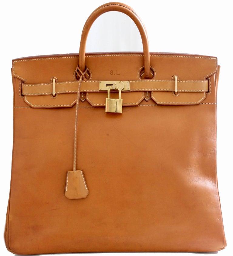 af9f82abba4 Hermes Haut A Courroies HAC 45cm Vache Natural Leather Travel Birkin ...