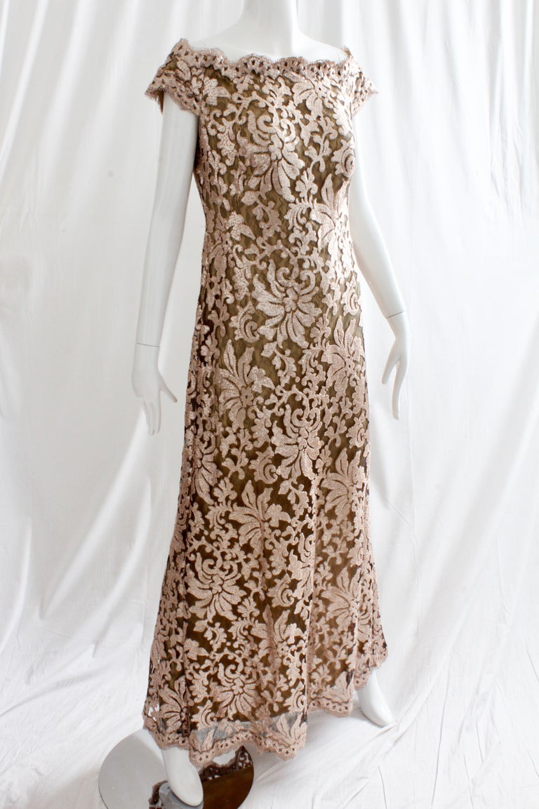 Tadashi Shoji Lace Sequins Formal Evening Dress Gown Size 10 For ...