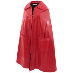 Pierre Cardin Space Age and Futurism Collection Red Vinyl Cape, 1960s