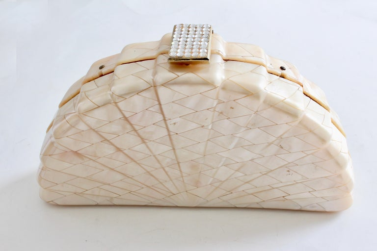 Beige Rare Saks Fifth Avenue Mosaic Clutch Evening Bag with Rhinestone Accents  1960s For Sale