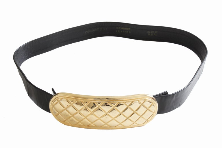 Women's Accessocraft NYC Huge Gold Matelasse Buckle & Black Leather Belt Strap 80s Rare For Sale