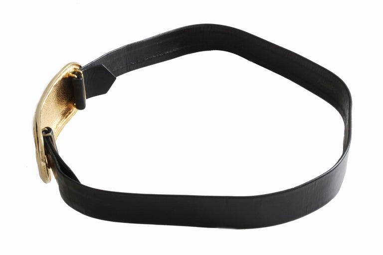 Accessocraft NYC Huge Gold Matelasse Buckle & Black Leather Belt Strap 80s Rare For Sale 1