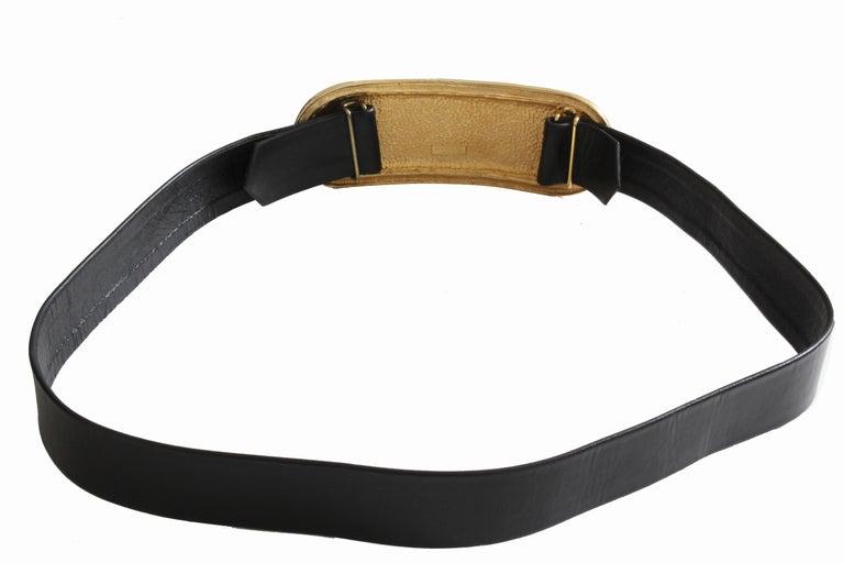 Accessocraft NYC Huge Gold Matelasse Buckle & Black Leather Belt Strap 80s Rare For Sale 2