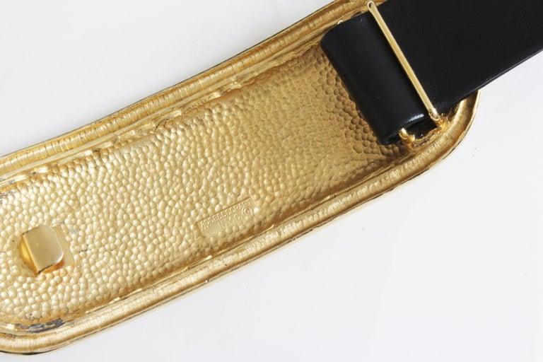 Accessocraft NYC Huge Gold Matelasse Buckle & Black Leather Belt Strap 80s Rare For Sale 4