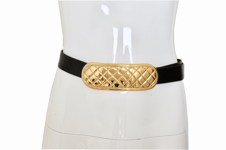 Beige Accessocraft NYC Huge Gold Matelasse Buckle & Black Leather Belt Strap 80s Rare For Sale