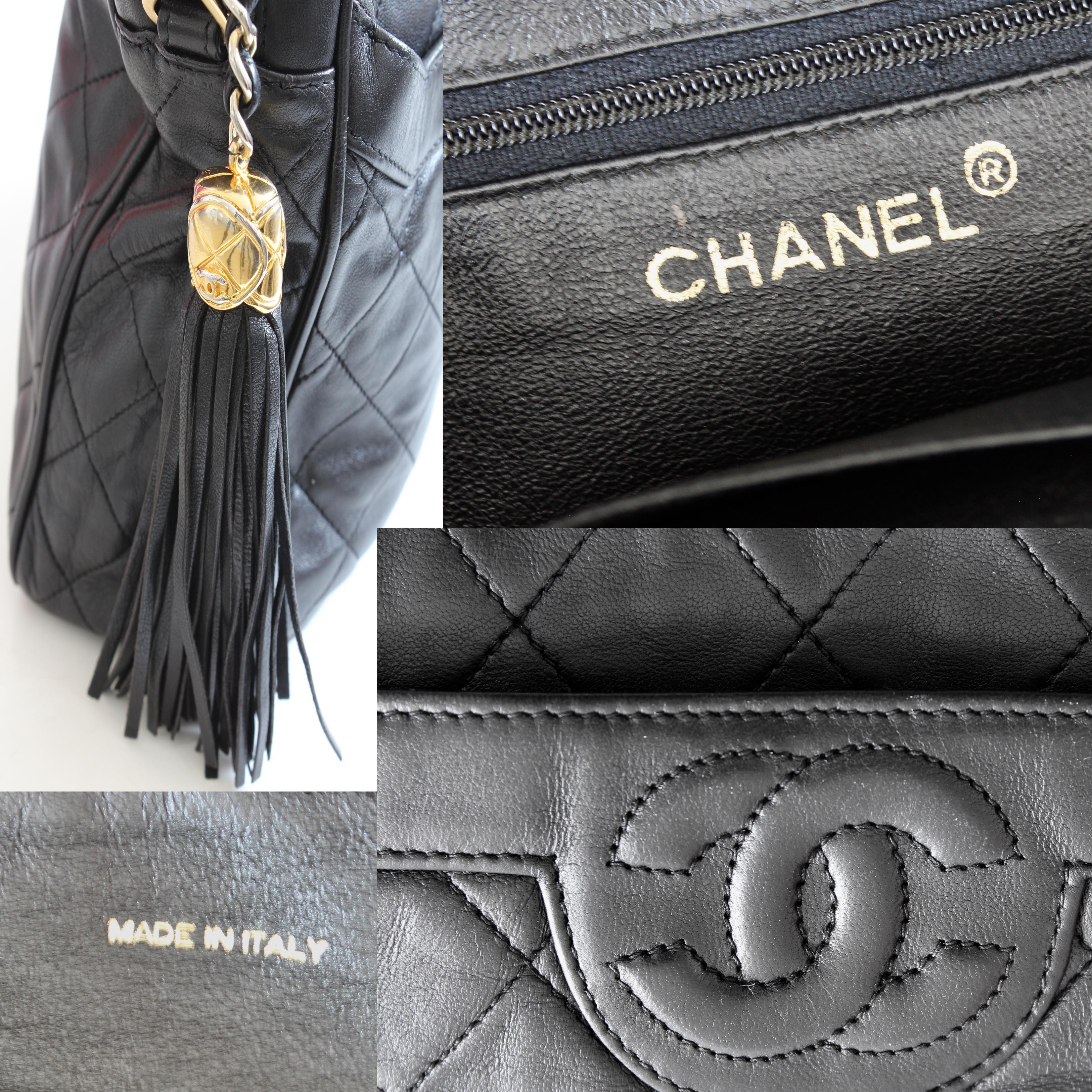 266f8df4d6fe Vintage Chanel Quilted Shoulder Bag Black Lambskin Leather Matelasse CC  Logo 80s For Sale at 1stdibs