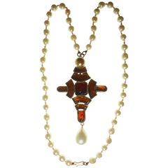 Chanel by Goossens Large Byzantine Cross Pendant with Faux Pearl Necklace, 1960s
