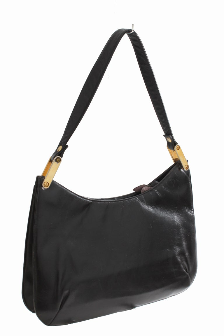Rare Saks Fifth Avenue Shoulder Bag Jackie O Style Black Box Leather 70s  In Good Condition For Sale In Port Saint Lucie, FL