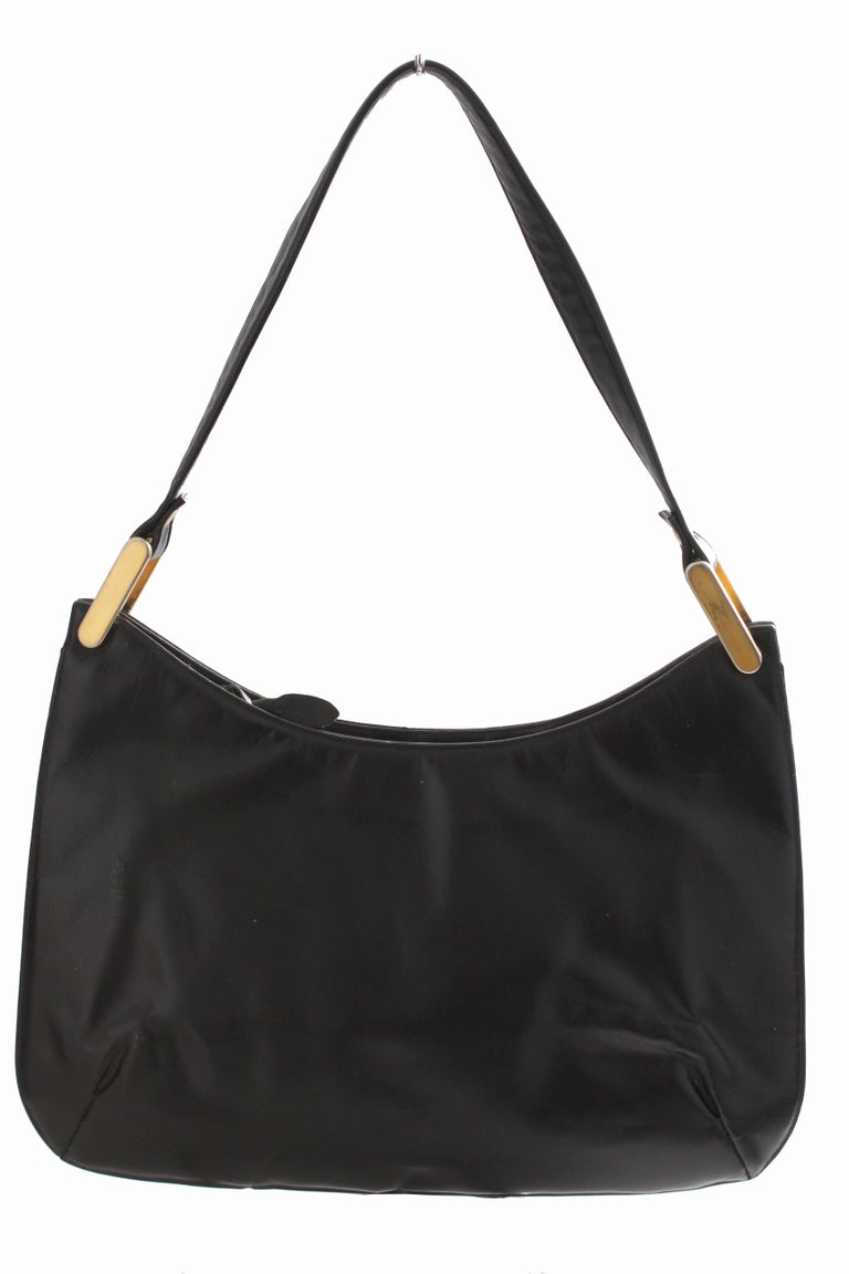 Women's Rare Saks Fifth Avenue Shoulder Bag Jackie O Style Black Box Leather 70s  For Sale