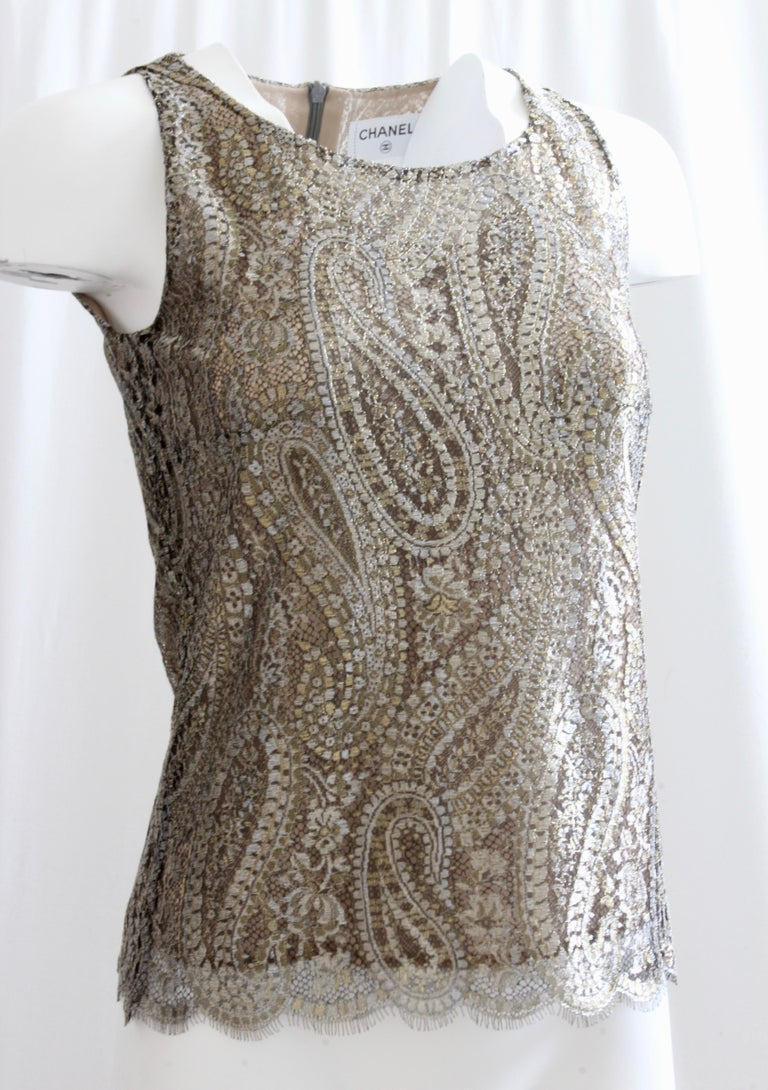 954034f63167f Gray Chanel Silk Blouse Sleeveless Metallic Paisley Scalloped Lace Shell  Top Sz 38 For Sale