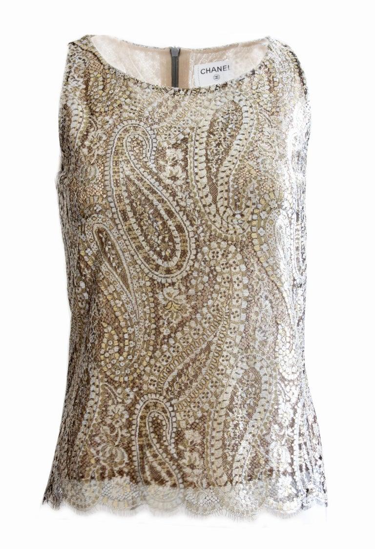 1da151d4c0f1b Women s Chanel Silk Blouse Sleeveless Metallic Paisley Scalloped Lace Shell  Top Sz 38 For Sale
