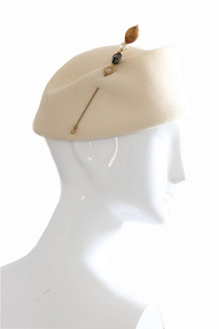 Halston Vintage Wool Pillbox Hat with Beaded Stick Pin, 1960s In Good Condition For Sale In Port Saint Lucie, FL