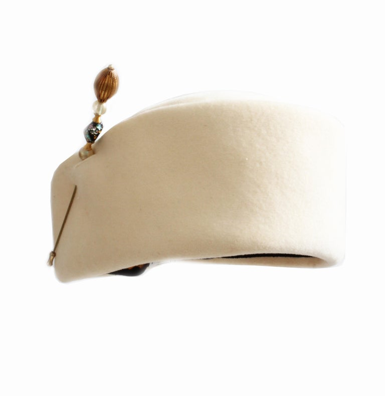 Beige Halston Vintage Wool Pillbox Hat with Beaded Stick Pin, 1960s For Sale