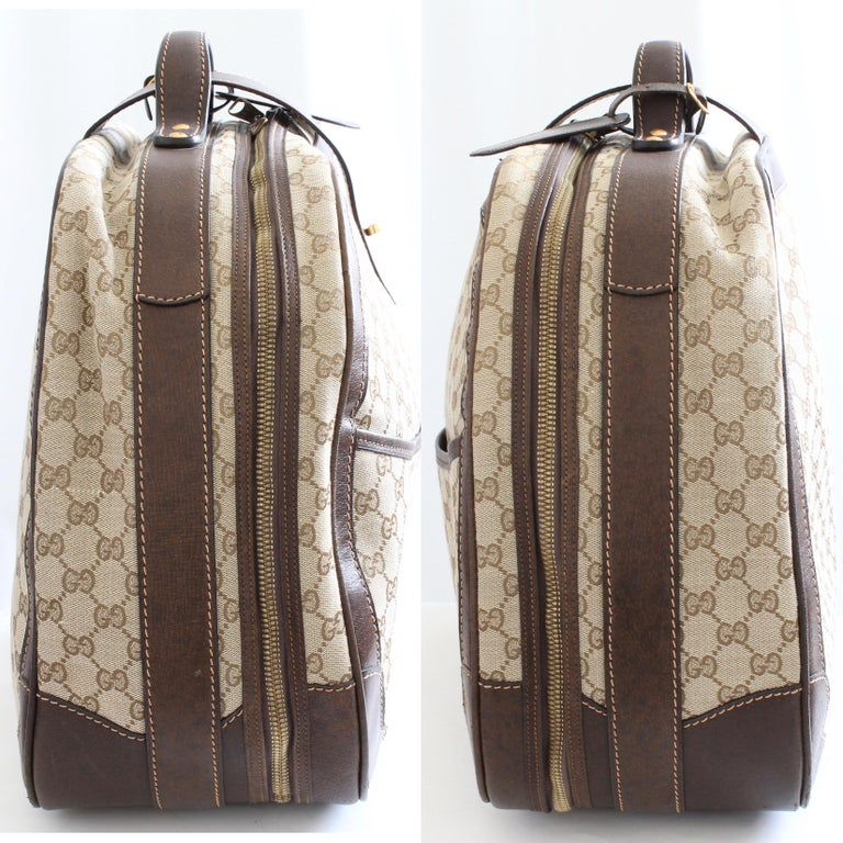 Gucci GG Logo Canvas Small Carry On Bag Suitcase Overnight Luggage, 1970s  In Good Condition For Sale In Port Saint Lucie, FL