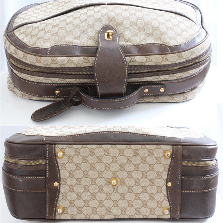 Gucci GG Logo Canvas Small Carry On Bag Suitcase Overnight Luggage, 1970s  For Sale 1