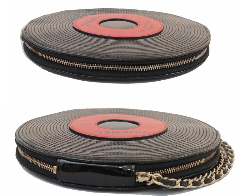 Black Chanel Patent Leather Ltd Ed Record Bag Evening Clutch Wristlet, 2004 For Sale