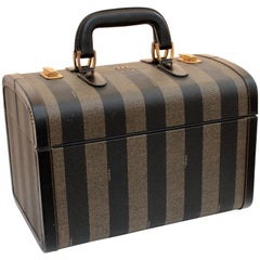 Fendi Vintage Train Case Carry On Bag Pequin Stripe Canvas Leather Travel